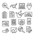 data analysis line icons set on white background vector image vector image