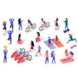 different isometric people active lifestyle set vector image vector image