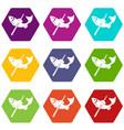 fishing icons set 9 vector image vector image