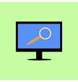 Flat style computer with magnifying glass vector image