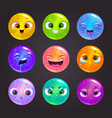 funny cartoon colorful round emoji faces vector image vector image