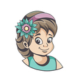 Girl with flower in hair vector image vector image