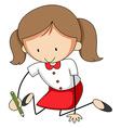 Girl writing vector image vector image