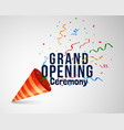 grand opening ceremoney background with confetti vector image vector image
