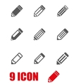 grey pencil icon set vector image vector image