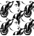 hand drawn pattern with of realistic woman vector image vector image
