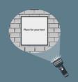hand flashlight round light beam on brick wall vector image
