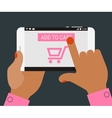Hand pressing Add to cart button on mobile device vector image