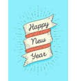 happy new year ribbon banner in engraving style vector image vector image