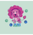 kiddy pink circus lion vector image vector image