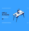 landing page home office with microscope vector image