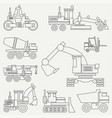 Line flat icon construction machinery set