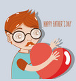 man celebrating father day with heart in the hands vector image vector image