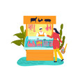 market stall meat products flat style street vector image vector image
