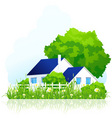 ountry house in grass vector image vector image