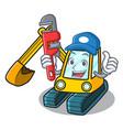 plumber excavator mascot cartoon style vector image