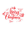red merry christmas lettering vector image vector image
