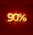sale 90 off ballon number on red background vector image vector image