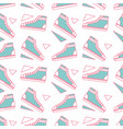 seamless pattern classic sneakers retro fashion vector image vector image