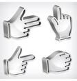 Set of four metallic hand signs vector image vector image