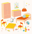 set of furniture for children room kids small vector image vector image