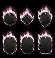 set of six frames surrounded with pink flame vector image vector image