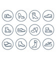 shoes line icons on white vector image