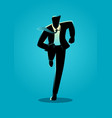 silhouette of a businessman running vector image vector image