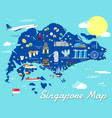 singapore map with colorful landmarks design vector image vector image
