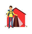 smiling man tourist standing near red tent with vector image