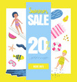 summer sale banner with beach elements discount vector image