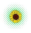 Sunflower icon comics style vector image vector image