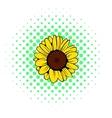 Sunflower icon comics style vector image