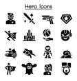 super hero icon set vector image
