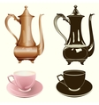 tea set antique tea pot and cup in color and vector image vector image