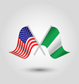 two crossed american and nigerian flags vector image vector image