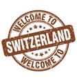 welcome to switzerland brown round vintage stamp vector image vector image