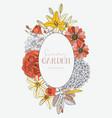 wreath with summer flowers - dahlia hydrangea vector image vector image