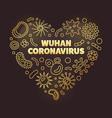 wuhan coronavirus heart shape golden vector image vector image