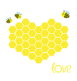 Yellow honeycomb set in shape of heart Beehive vector image vector image
