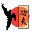 a monk demonstrating kung fu and a h vector image