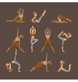 Colored yoga set icons isolated on white vector image