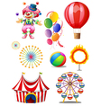 A clown playing balls with different circus stuffs vector image vector image