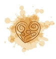 Abstract heart on coffee stain background vector image