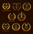 advocacy or lawyer gold heraldic icons vector image