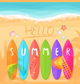 beach with surfboards vector image vector image
