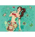 Bikini Girl on Green Background vector image vector image