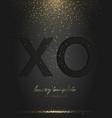 black xo paper cut falling golden confetti vector image vector image