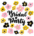 bridal party handwritten postcard vector image vector image