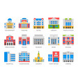 buildings architecture flat icons vector image